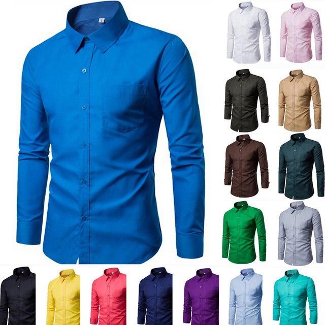 715b27ad1 2018 marca Os Homens Camisa 17 cores Sólidas Branco Vestido Camisa Manga  Comprida Slim Fit Camisa
