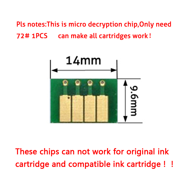 For HP72 <font><b>HP</b></font> <font><b>72</b></font> Ink Cartridge ARC <font><b>Chips</b></font> for <font><b>HP</b></font> Pro officejet T770 T790 T1100 T1120 T1200 Printer Auto Reset Cartridge <font><b>Chips</b></font> image