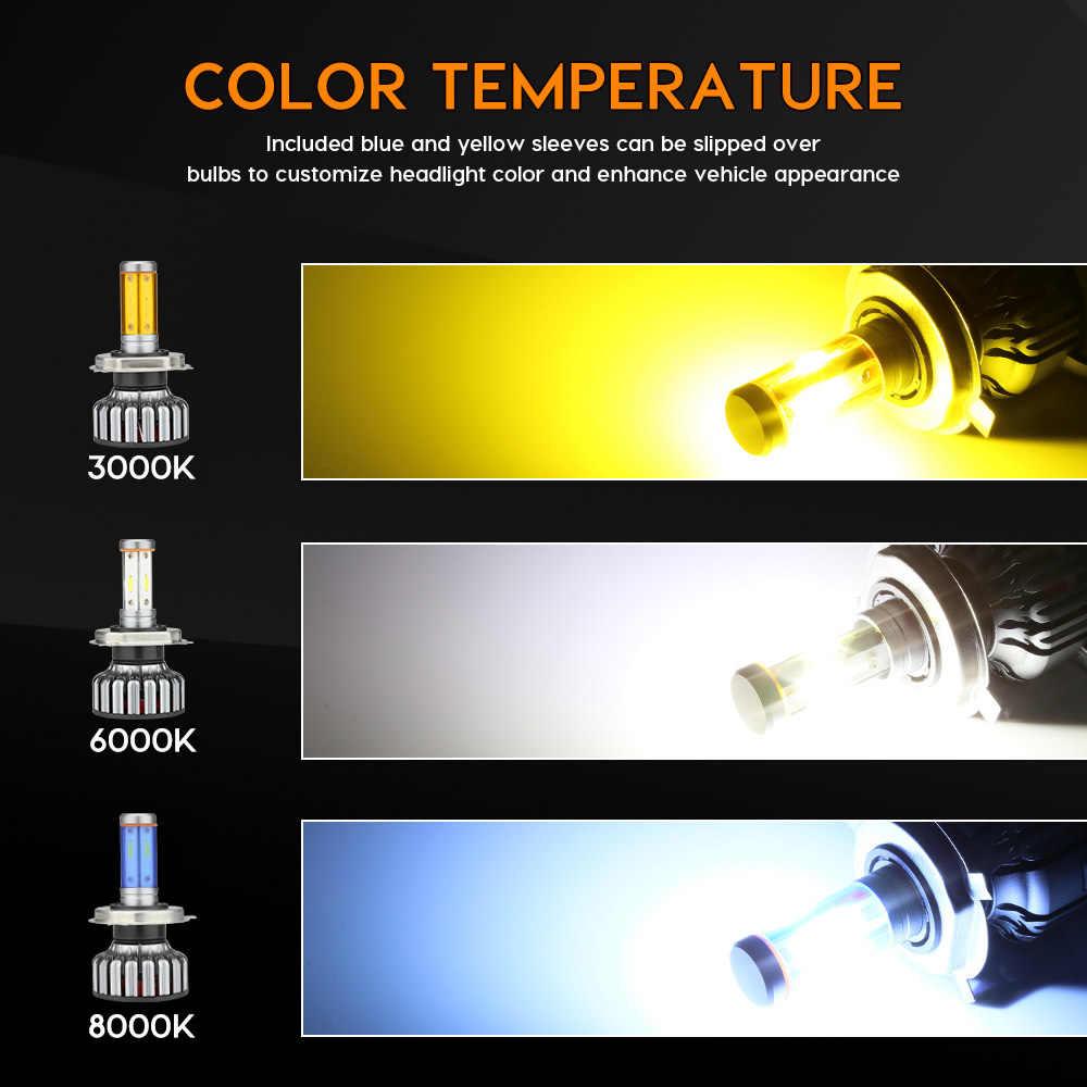 Zdatt 12 V 4 боковые лампы фар автомобиля H4 светодиодный H7 H11 H8 100 W 12000Lm свет canbus 3000 K 6000 K 8000 K 24 V со светодиодными кристаллами для автомобильных фар