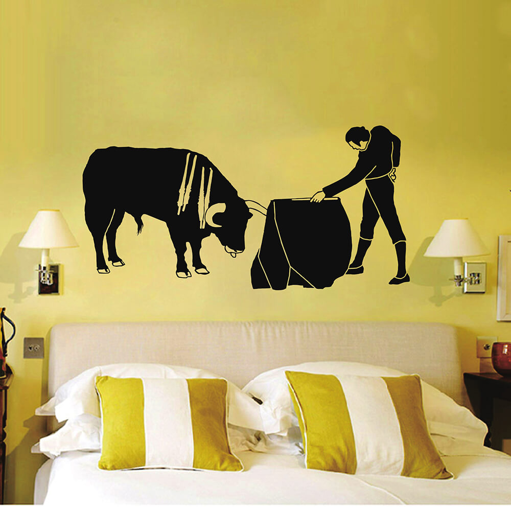 Black Pvc Wall Stickers Spanish Bullfighter Is Crazy 3d Removable Wall  Decals Home Decor Stickers 20