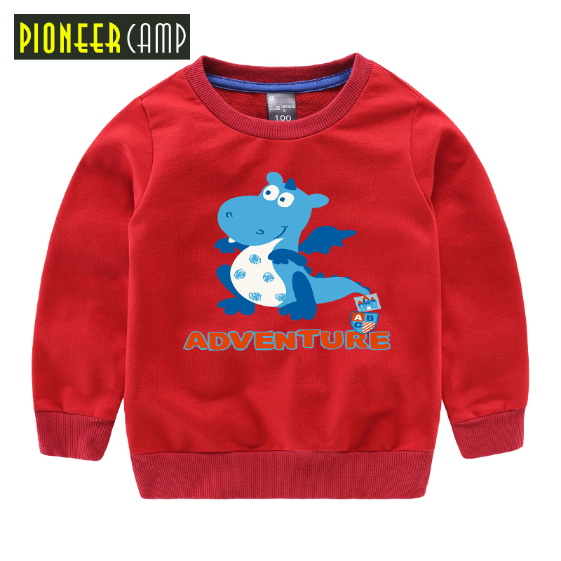 Pioneer Kids 2017 New Spring Retail Casual Boys Girls Clothes Cartoon Dinosaur Boy's T Shirt Long Sleeve Top&Tee