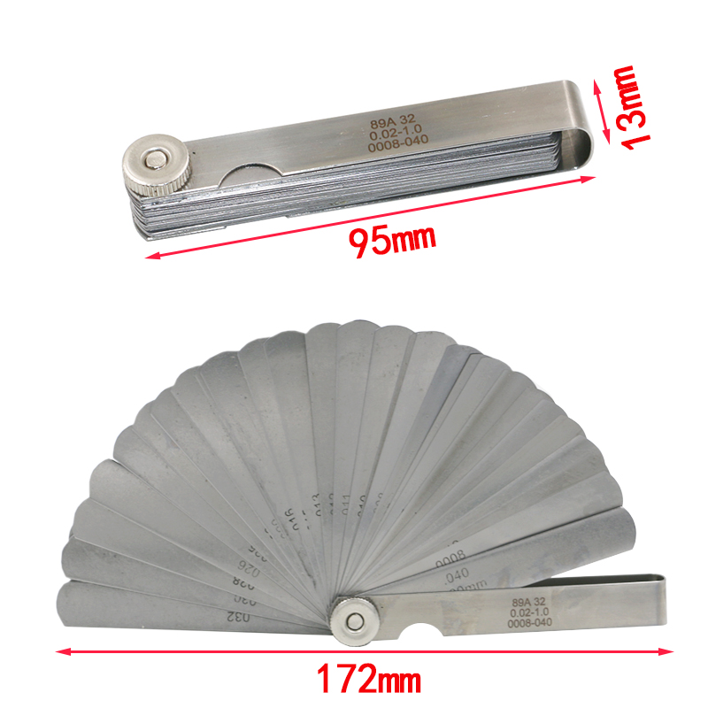0.02-1mm Newest 32 Blade Feeler Gauge Tune Up Thickness Set Blade, Gap measurement tools