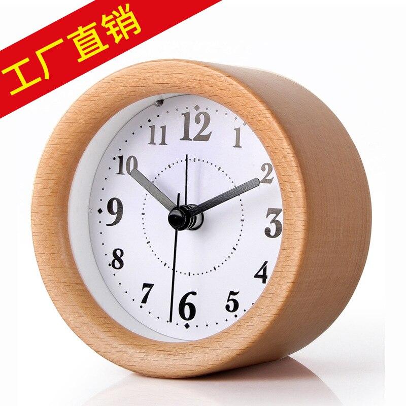 TUDA Free Shipping 4 Inch Creative Luminous Small Alarm Clock Fashion Minimalist Solid Wooden Snooze Function Mute Alarm Clock