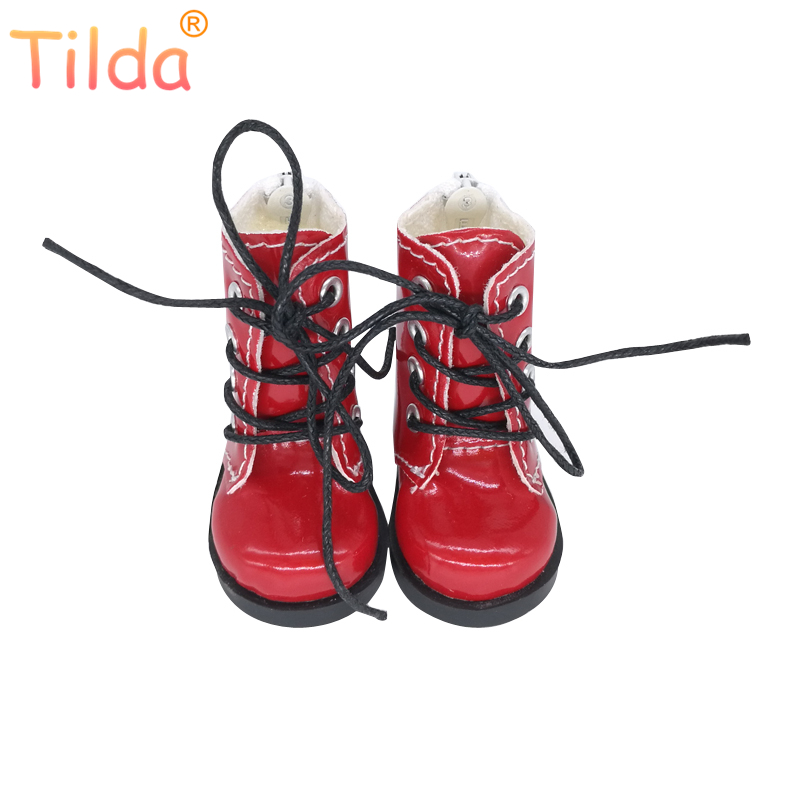 Tilda 5cm 1/6 Doll Boots Shoes For BJD Doll,Mini Boots for Textile Doll Boots PU Leather Shoes for Handmade Dolls Accessories tilda 5pairs lot 5cm canvas sneak for bjd doll mini textile doll boots 1 6 polka dots designer sneakers shoes for handmade dolls