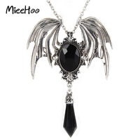 New Arrival Gothic Halloween Necklace Blue And Black Crystal Vampire Vintage Bat Pendant For Men And