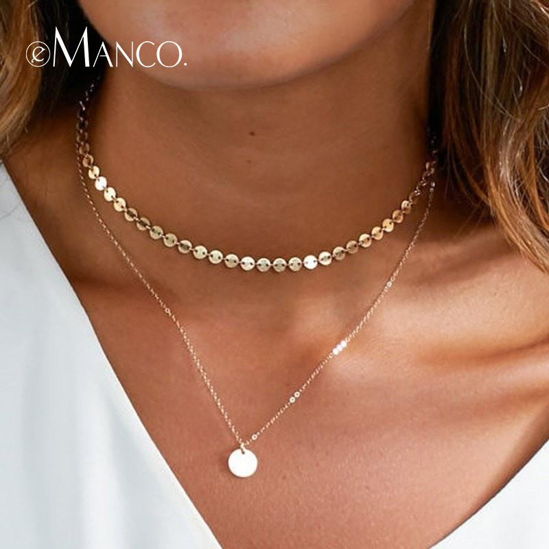 e-Manco Bohemia Choker Necklaces For Women Two Layered Hot Sale Gold Chain Copper Adjustable Femme Necklace Fashion Jewelry все цены