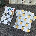 2016 Do Bebê Bobo Choses meninos Meninas T Camisa abacaxi/morango/automóvel Bebê Manga Curta Crianças Camisetas Tee Criança roupas