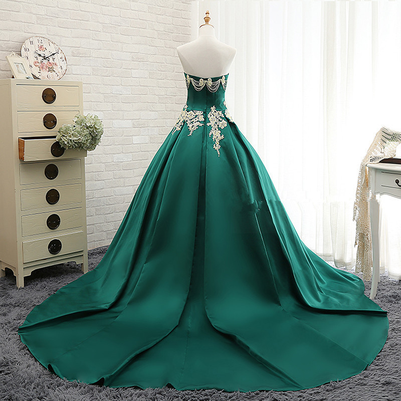Bridal Green Wedding Dress Sexy Strapless Off Shoulder Beaded Sequin Lace Wedding Gown CW01