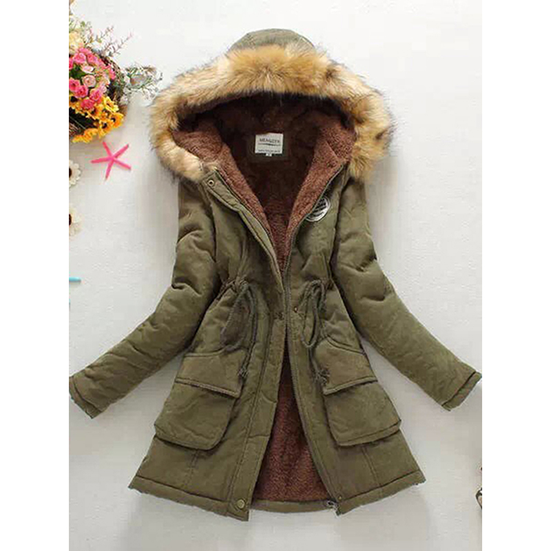 Women Warm Jackets Coats 2018 Fashion Zippers Hooded Fur Coat Female Long Sleeve Outwear Jacket Plus Size Winter Parka Coat