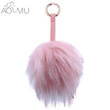 AOMU Pompom Fur Ball Key Chain For Women Black Pink Leather Keychain Trinket Car Bag Key