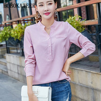 BOBOKATEER Long Sleeve Shirt Women Blouses V Neck Cotton Blouse Blusas Mujer De Moda 2018 Striped