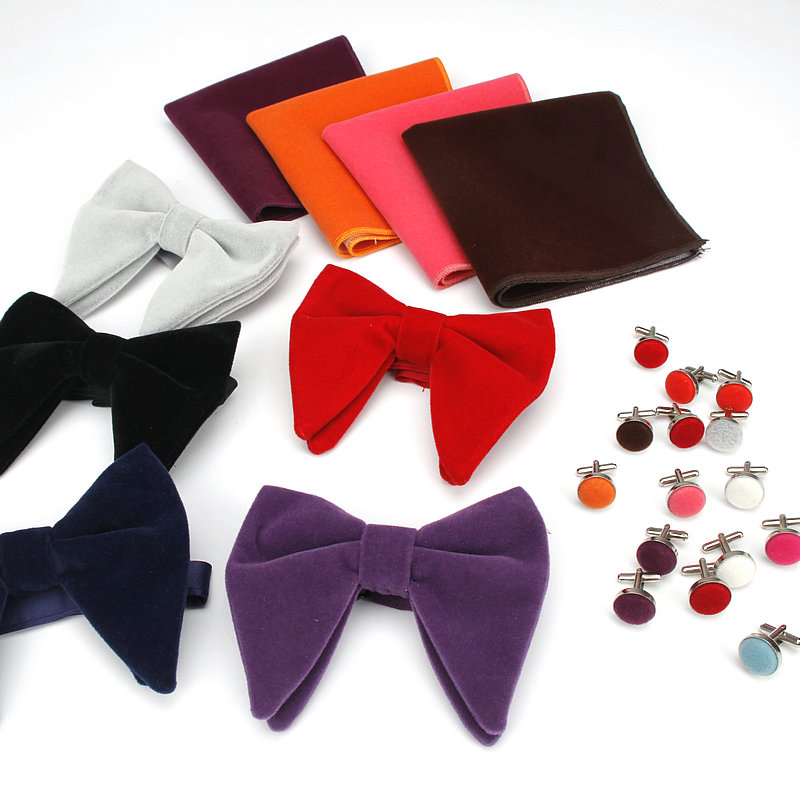 New Brand Micro Suede Bow Ties Set Men's Pocket Square Cuff-link Corduroy Big Bowtie For Wedding Party Groom Fashion Hanky Gift