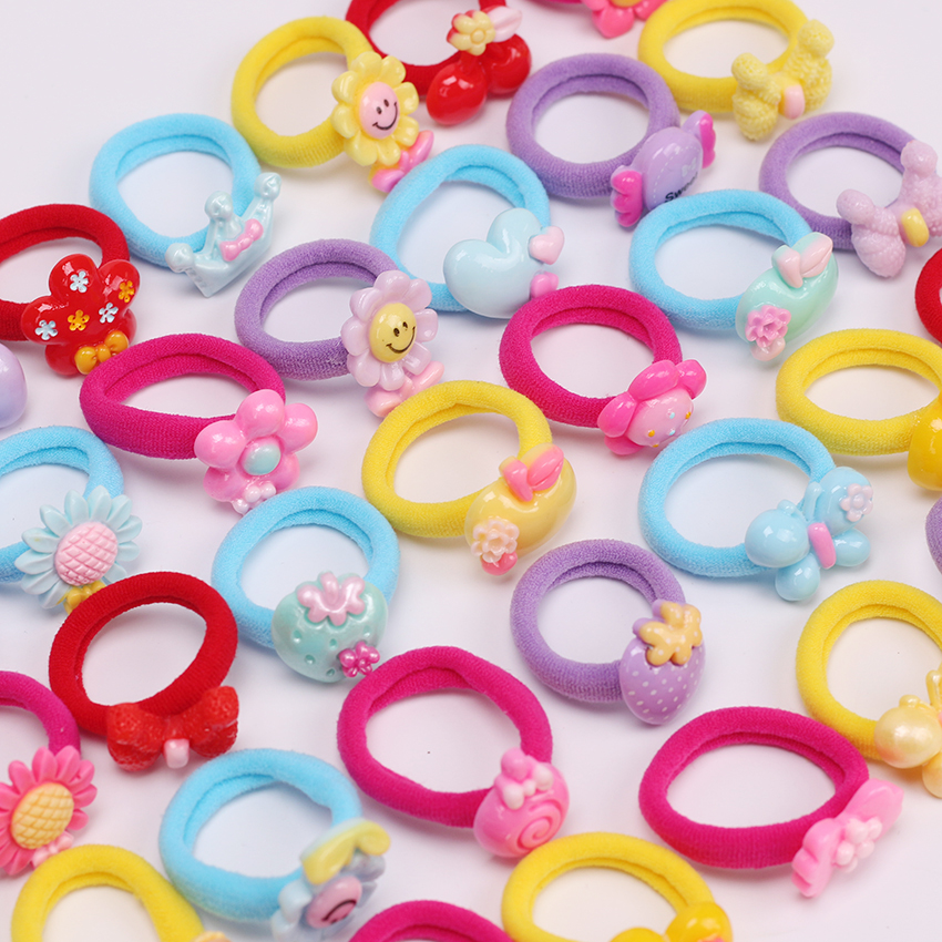 10PCS Candy Cartoon Child Kids Hair Holders High Quality Rubber Bands Elastics Headwear Accessories