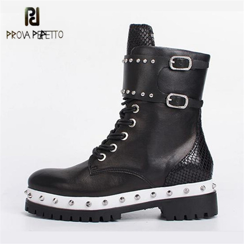 Prova Perfetto Black Women Ankle Boots Genuine Leather Rivets Studded Lace Up Autumn Winter High Boots Female Platform Shoes