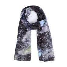 Galaxy Impreso Bufanda Larga de Gasa