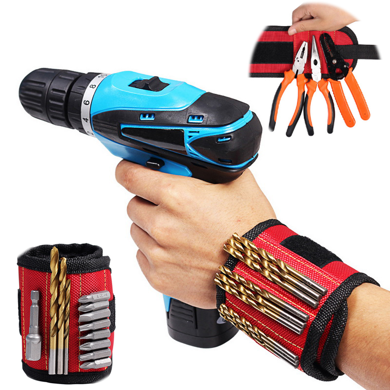 Hoomall Magnetic Bracelet For Tools Magnetic Wristband Portable Small Tool Bag 2 Magnets Screws Nails Drill Bits Electrician Bag