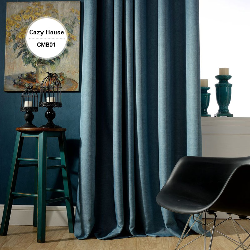 Solid Faux Linen Plain Blackout Curtains For Living Room Modern Style Navy Drapes Window Bedroom Shade Custom Size In From Home