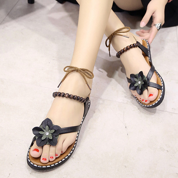 2018 New Fashion Sweet Women Flat Sandals Thong Flower Beads Bandage Girl Summer Beach Casual Shoes Flip Flops WML99 free shipping 2016 summer diamond woman sandals casual flat thong flip flops fashion beads wild sandals white black st338