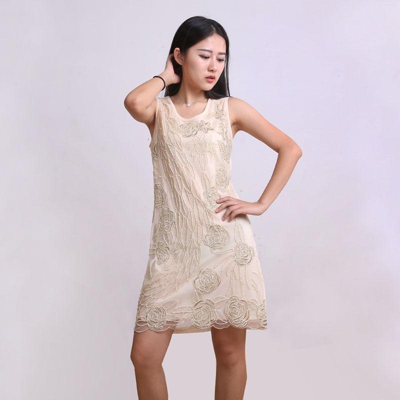 √Europa moda gasa Bordado flor Ladies Slim verano Vestidos Mujer ...