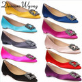 Free shipping 2016 female classic silk stain diamond buckle flats, women's sex silk stain diamond buckle party flats, 33-43