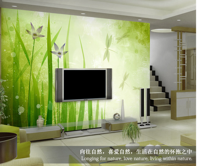 Eco friendly natural 3d art wall paper background decor for Wallpaper design for office wall