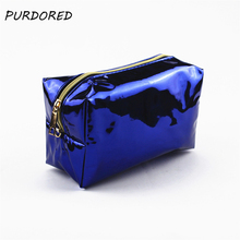 PURDORED 1 pc Solid Laser Cosmetic Bag Women Make Up Box Student Pencil Case Toiletry Wash Bag Clutch necessarie Dropshipping