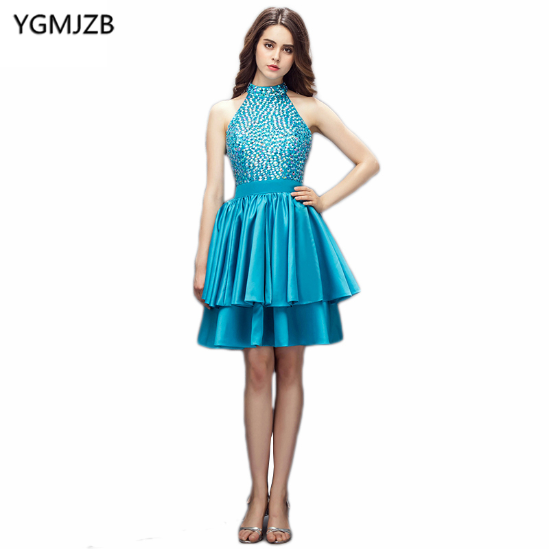 New Fashion   Cocktail     Dresses   2019 A Line Halter Open Back Beaded Crystal Tiered Short   Dress   Women Formal Party   Cocktail     Dress