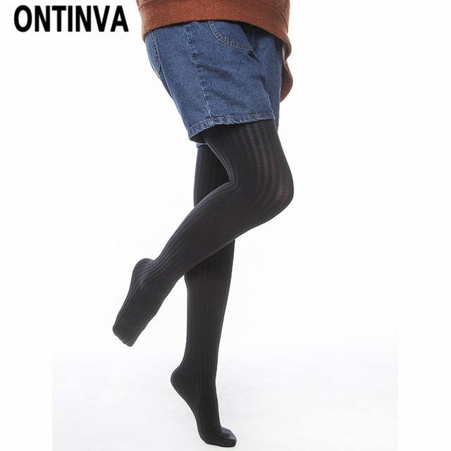 723328a4098 2018 Fall Fashion New Pantyhose for Women Office Ladies Slim Sexy Tight  Girls Winter Stockings Solid Black Color Ribbed Pants