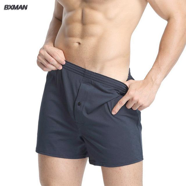 BXMAN 100% Malha de Algodão de Alta Qualidade Dos Homens Boxer Shorts dos homens Roupa Interior Sólida Clássico Homens Undergarment 1 Peça