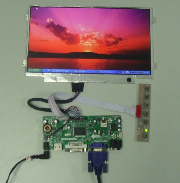HDMI+DVI+VGA driver board + 10.1inch lcd display HSD101PFW3 1024*600 LVDS screen
