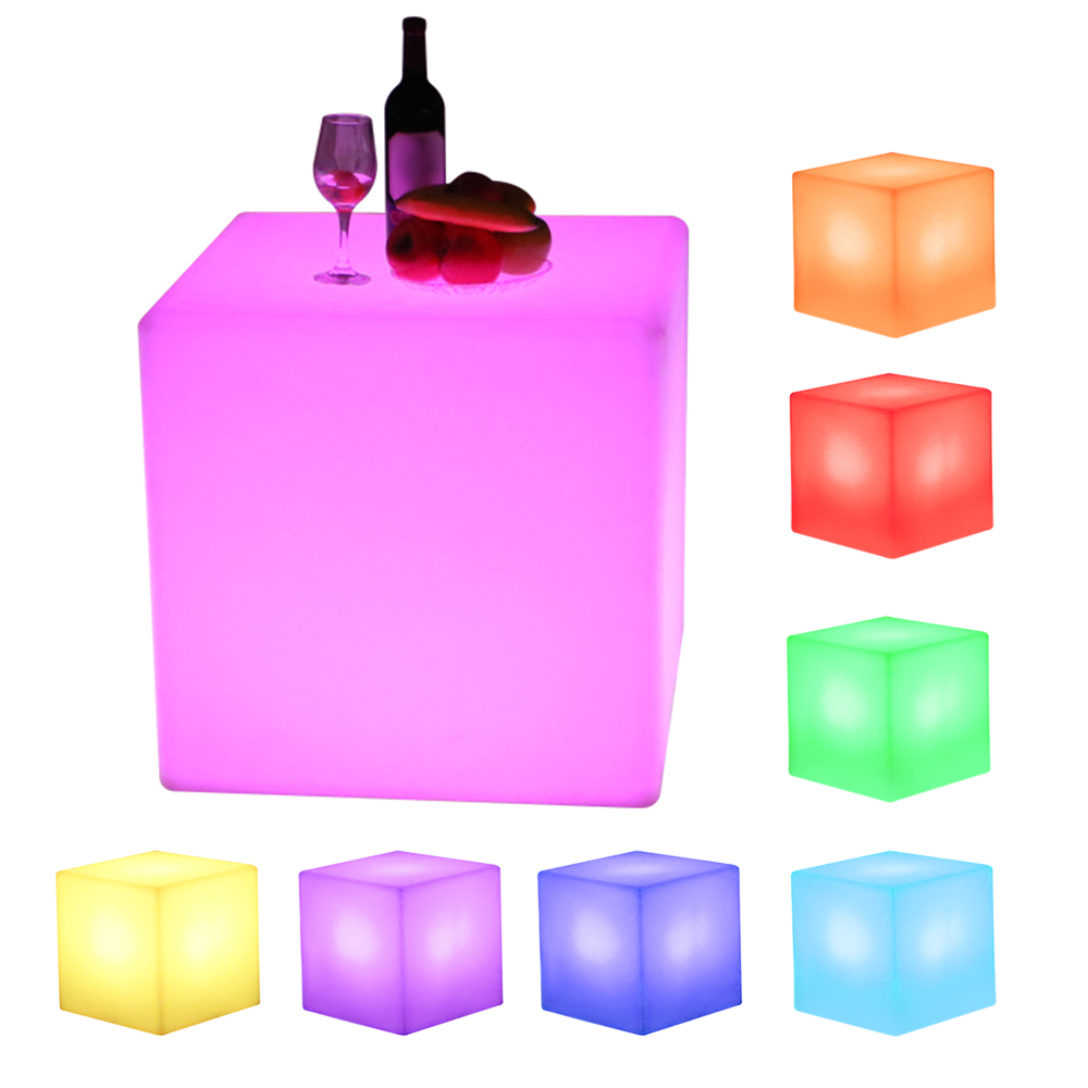LED Cube Rechargeable Cordless Decorative Light Luminous Stool With 16 Colors Remote Control 35 X 35 X 35cm