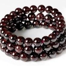 Wine Red Garnet Stone Buddha Beads Gem Stone Bracelets For Women Strand Bracelet Men Jewelry Pulseras