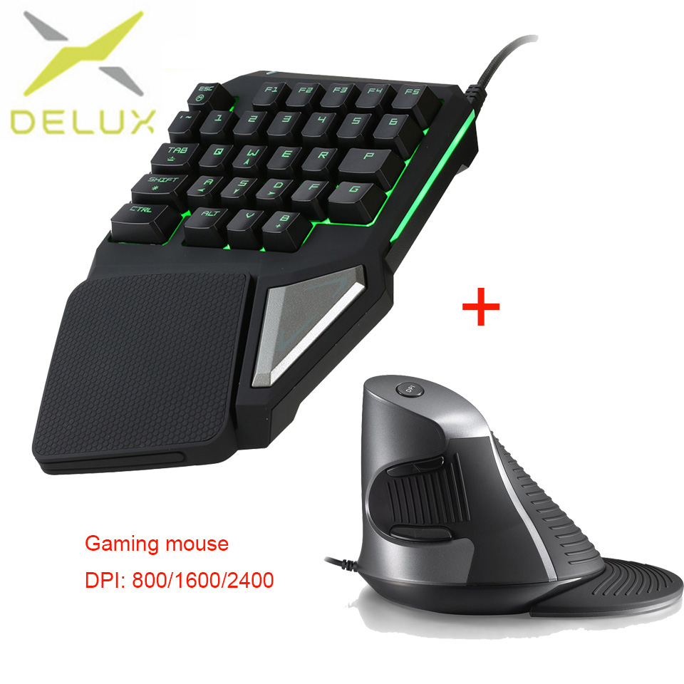Delux mini keyboard Gaming Vertical Mouse professional Keypad 2400DPI Ergonomic Gamepad RGB Backlight for laptop pc for games