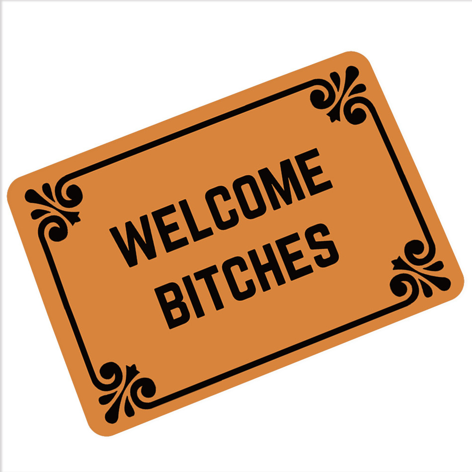 CAMMITEVER Villain Welcome B*tches Carpets Hallway Humor Rubber Income Door Pad Funny Carpet Pad 360g Mats Oh No Not You Again-in Carpet from Home & Garden