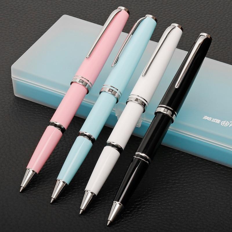 Nice argent Clip Rollerball stylo noir blanc rose bleu pour choisir 0.7mm encre noire recharge bureau cadeau stylos fournitures scolaires