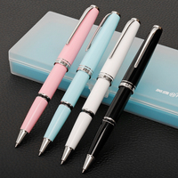 Nice Silver Clip Rollerball Pen Black White Pink Blue for Choose 0.7mm Black Ink Refill Office Gift Pens School Supplies