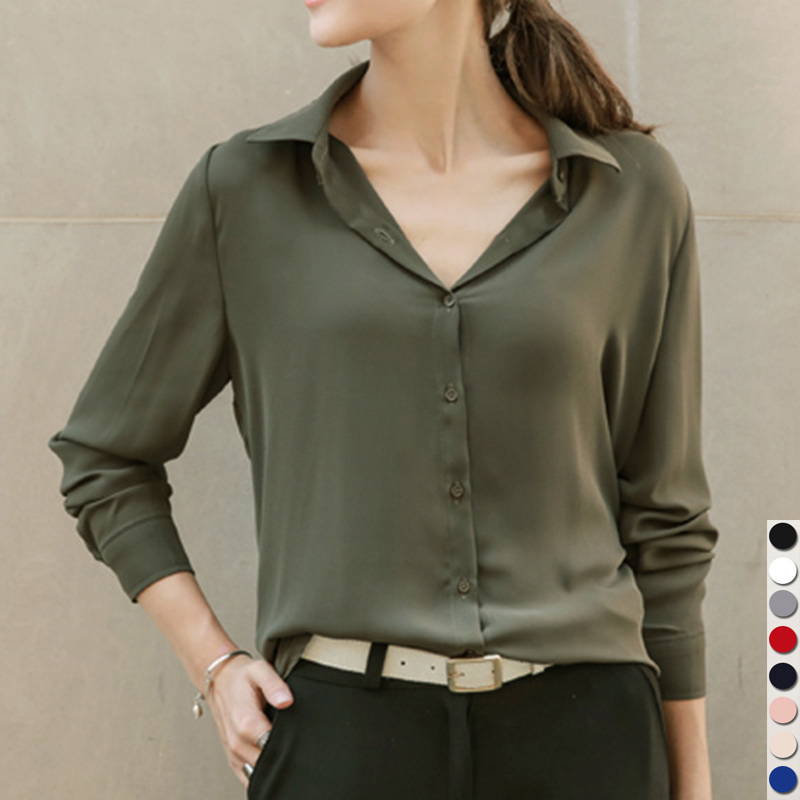 2019 Hot Sale Women Shirts Blouses Long Sleeve Turn-Down Collar Solid Ladies Chiffon Blouse Tops OL Office Style Chemise Femme