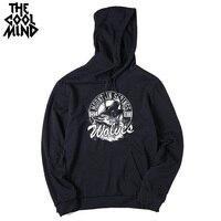 THE COOLMIND loose street style cotton blend fleece wolf printed men hoodies autumn long sleeve men sweatshirts