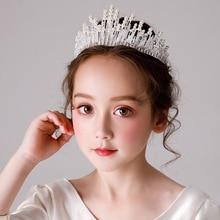 Tinksky нежный Свадебная вечеринка детей цветок девушка Кристалл Стразы в форме сердца Корона оголовье тиара(серебро/золото