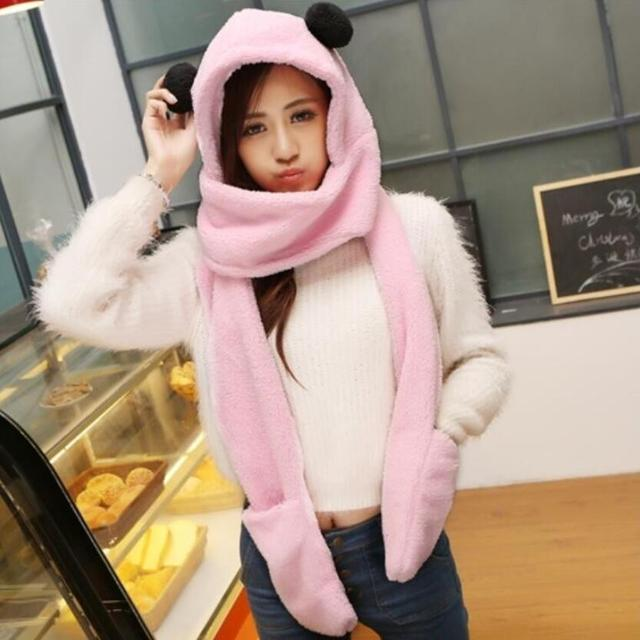 Cute bear hats with hooded gloves pocket earflap long scarves