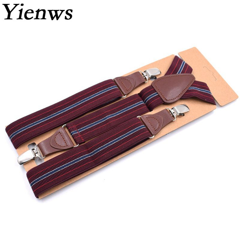 Yienws Bretels Mannen Vintage Striped Burgundy Suspenders For Mens 3 Clip Button Braces For Trousers 120cm Ligas YiA045