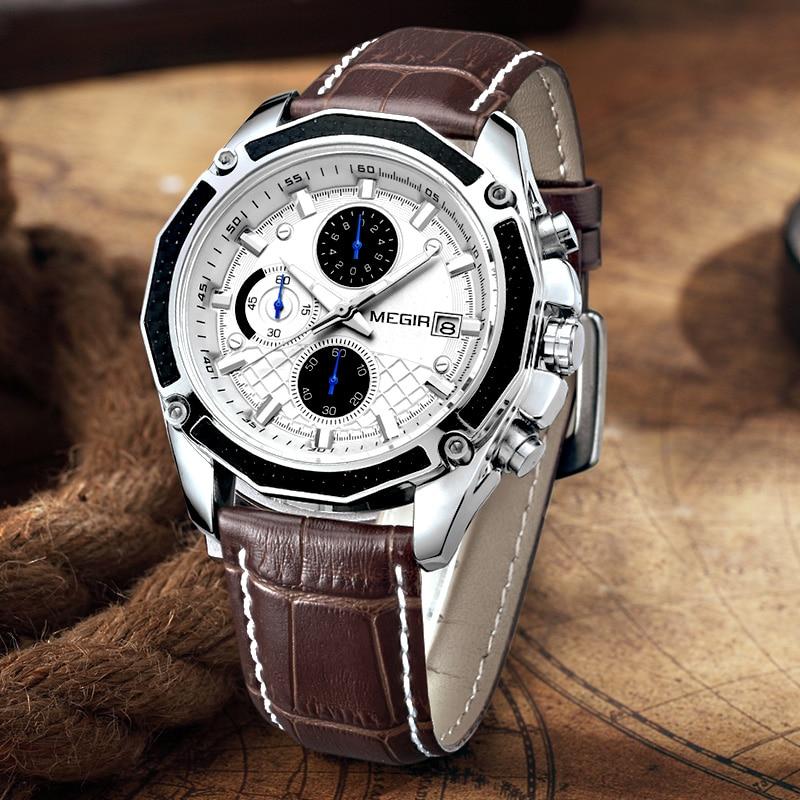 Image 4 - MEGIR Official Quartz Men Watches Fashion Genuine Leather Chronograph Watch Clock for Gentle Men Male Students Reloj Hombre 2015-in Quartz Watches from Watches