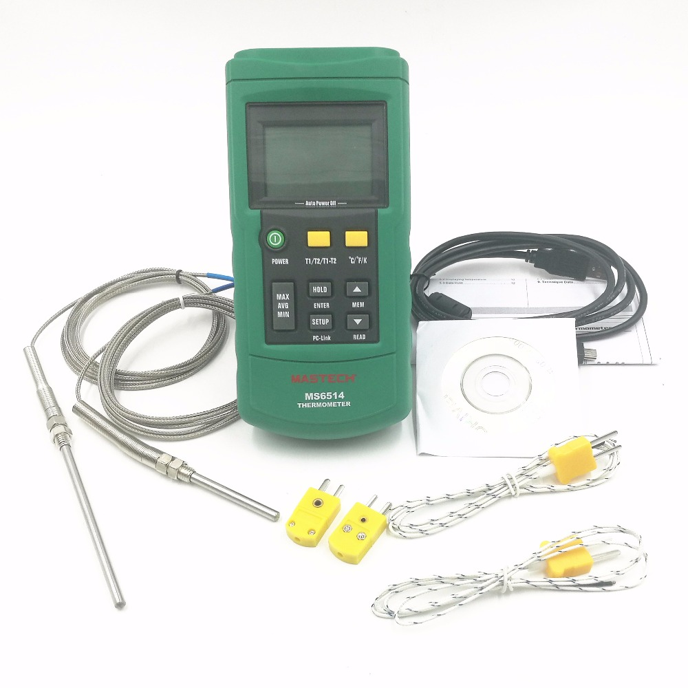 цена на 10pcs/lot MASTECH MS6514 Dual Channel Digital Thermometer + 10PCS 50mm and 10pcs 100 K-type thermocouple probe