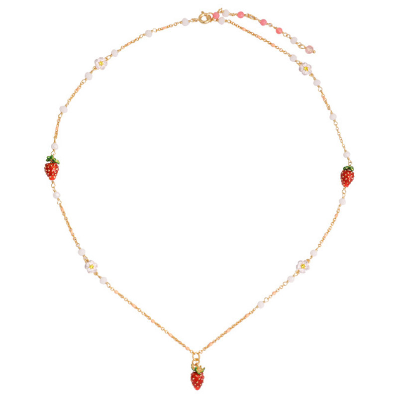 Simple elegant lovely red fruit necklaces for women enamel glaze Strawberry flower necklace lady party jewelry unique mermaid with shell pendant necklace for women enamel glaze fashion choker necklaces lady party jewelry