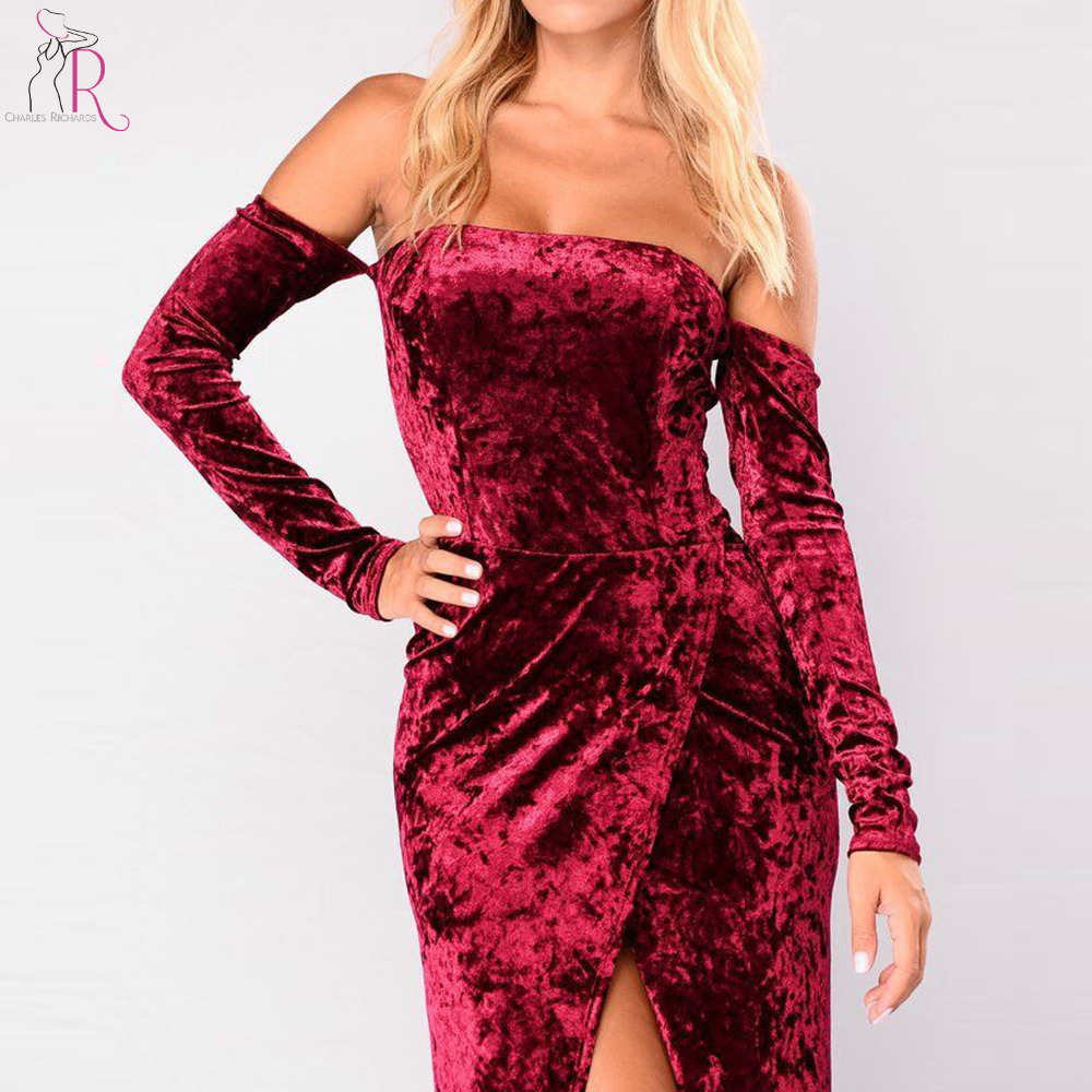 fa46e61a4cc0 Wine Red Off Shoulder Velvet Maxi Dress Women Long Sleeve Thigh Warp Split  Front High Waist Backless Party Vintage Dress-in Dresses from Women s  Clothing on ...