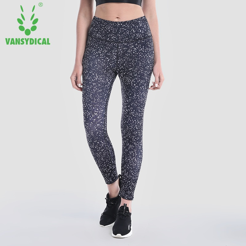 Vansydical 2018 Printed Yoga Pants Compression Fitness Tights Breathable Running Jogging Pants High Waist Sports Leggings