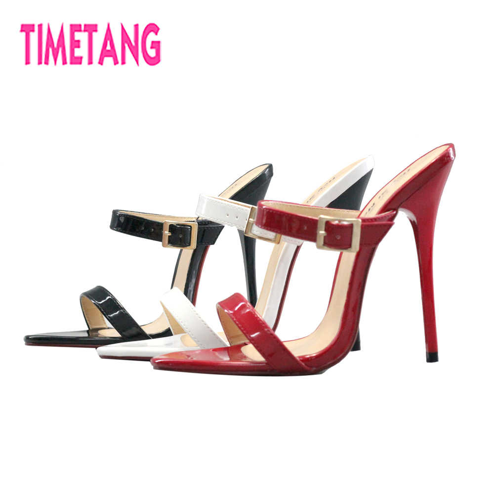 9ef7ac4de2e TIMETANG Fashion Big Size 40-50 High Heel Sexy Women Slides Cross Dresser  Drag