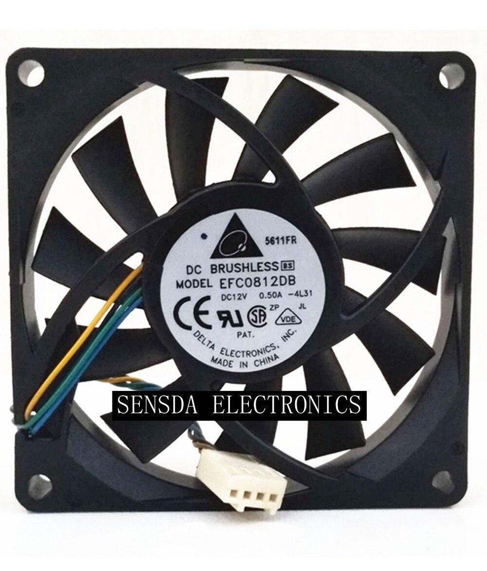 New  For Delta EFC0812DB 8CM 80MM 8015 8*8*1.5CM 80*80*15MM 12V 0.5A 4-wire PWM Cooling Fan