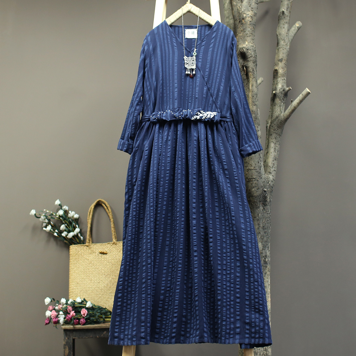 Women Loose Cotton Linen Emboridered Dress Ladies Striped Casual Retro Dress Female Vintage Striped Dresses 2019