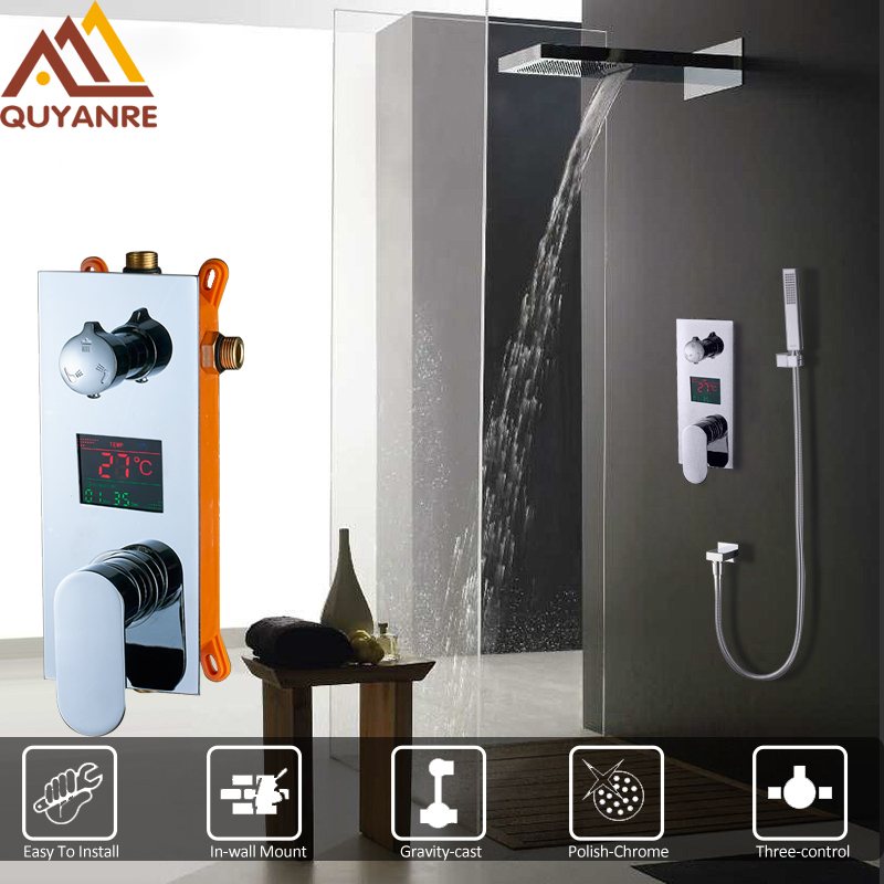 Quyanre Concealed Digital Display Shower Faucets Set 3-Function Mixer Tap Faucet Rain Waterfall Shower Head Bathroom Shower Set